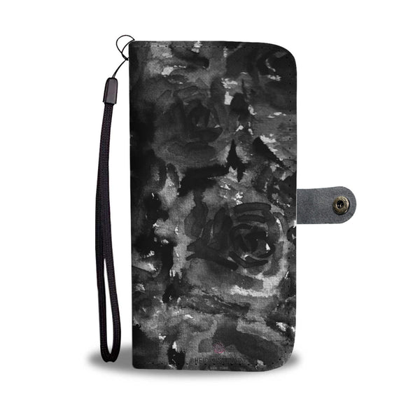 Cool Girlie Floral Print Black Zombie Rose Designer Wallet Phone Case-Wallet Case-iPhone 8-Heidi Kimura Art LLC