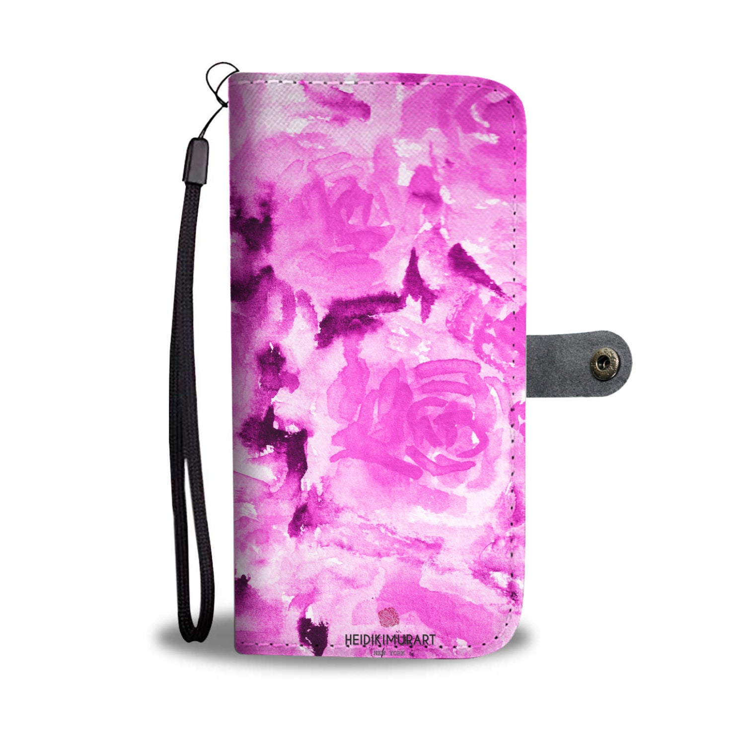 Cool Girlie Floral Print Pink Zombie Rose Designer Wallet Cell Phone Case-Wallet Case-iPhone 8-Heidi Kimura Art LLC