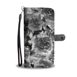 Dark Cool Girlie Floral Print Grey Zombie Rose Designer Wallet Cell Phone Case