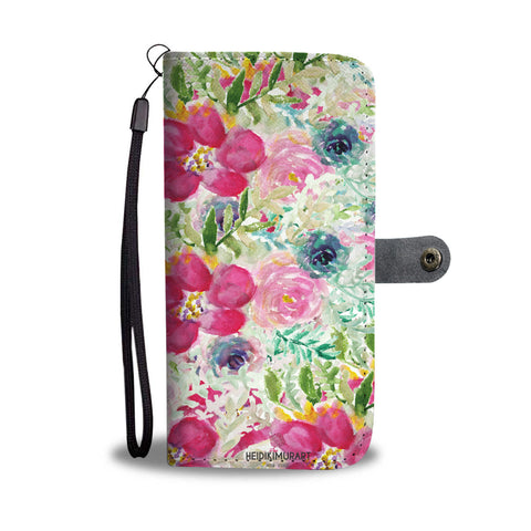 Garden Floral Print Wallet Phone Case, Floral Print Pink Designer Wallet Cell Phone Case-Wallet Case-iPhone 8-Heidi Kimura Art LLC