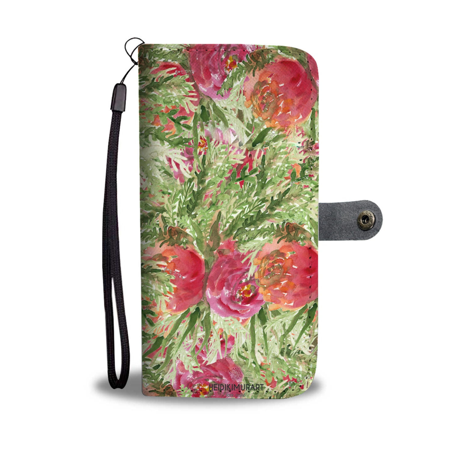 Rose Floral Wallet Phone Case, Girlie Pink Flower Print Women's Wallet iPhone Samsung Case