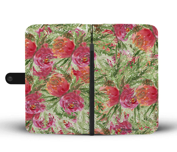 Rose Floral Print Wallet Cell Phone Case, Girlie Pink Flower Print Women's Wallet Phone Case-Wallet Case-Heidi Kimura Art LLC