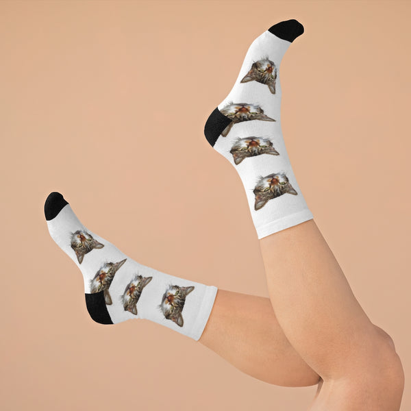 White Cat Print Socks, Designer Cute Calico Cat 1-Size Knit Premium Socks- Made in USA-Socks-One size-Heidi Kimura Art LLC