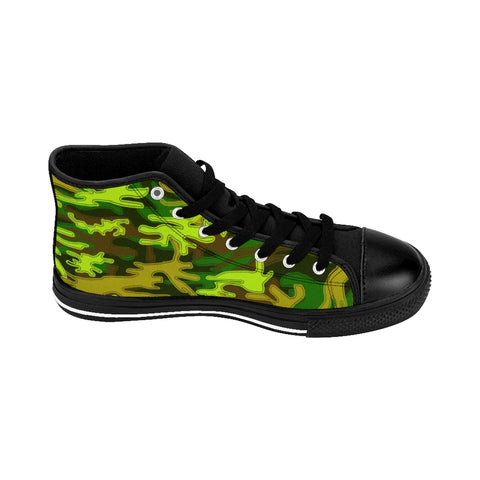 "Green Camo Women's Sneakers, Military Print Designer High-top Sneakers Tennis Shoes-Shoes-Printify-Black-US 9-Heidi Kimura Art LLCGreen Camo Women's Sneakers, Army Military Camouflage Print 5"" Calf Height Women's High-Top Sneakers Running Canvas Shoes (US Size: 6-12)"