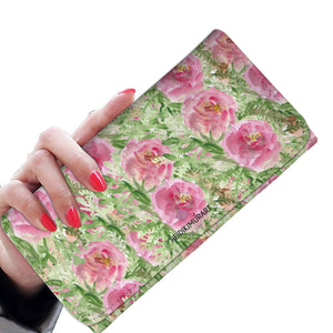 Cute Green Pink Garden Rose Floral Print Designer's Choice Women's Wallet-Womens Wallet-Heidi Kimura Art LLC Floral Women's Wallet, RFID Protection Snap Fastening With Phone Pocket, 1 Zipper Cute Green Pink Garden Rose Floral Print Designer's Choice Women's Wallet