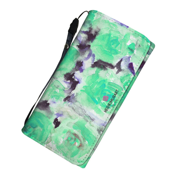 Turquoise Blue Girlie Rose Floral Print Designer's Choice Women's Wallet-Womens Wallet-Heidi Kimura Art LLC Turquoise Blue Floral Wallet, Turquoise Blue Girlie Rose Floral Print Designer's Choice Women's Wallet with RFID Protection, Durable Black Wristlet, And Snap Fastening