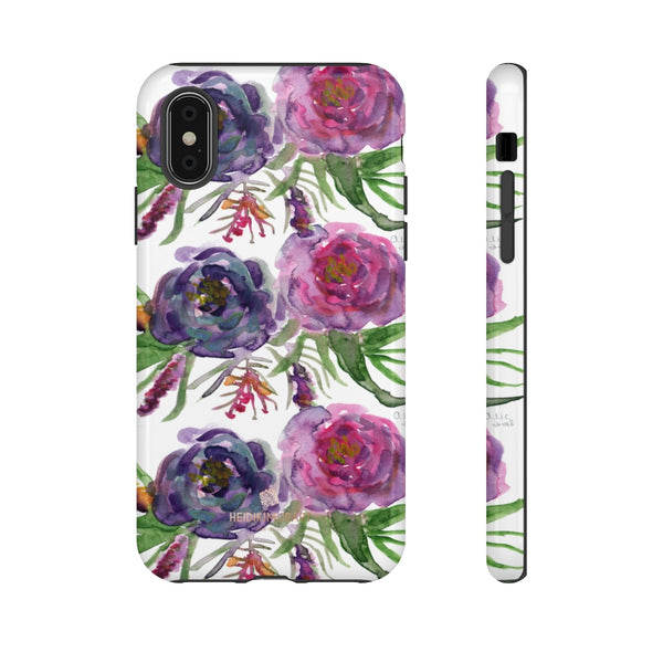 Pink Floral Print Phone Case, Roses Tough Designer Phone Case -Made in USA-Phone Case-Printify-iPhone X-Glossy-Heidi Kimura Art LLC