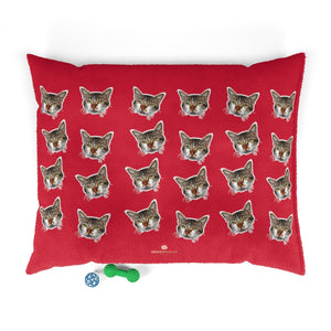 Red Cat Pet Bed, Solid Color Machine-Washable Pet Pillow With Zippers-Printed in USA-Pets-Printify-50x40-Heidi Kimura Art LLC