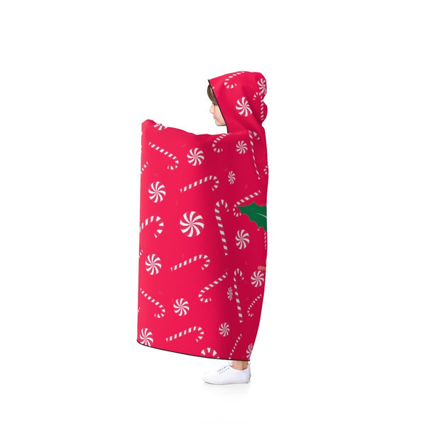 Comfy Lightweight Christmas Red Sugar Cane Designer Holiday Party Hooded Blanket-Hooded Blanket-Heidi Kimura Art LLC