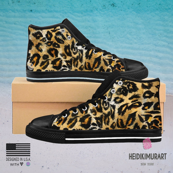 Brown Snow Leopard Print Men's Sneakers, Leopard Animal Print Men's High Top Sneakers-Men's High Top Sneakers-Heidi Kimura Art LLC Brown Leopard Men's Sneakers, Brown Snow Leopard Animal Print Pattern Designer Men's Shoes,Men's High Top Fashion Sneakers US Size 6-14,Tribal Leopard Print Shoes, Unique Sneakers (US Size: 6-14)