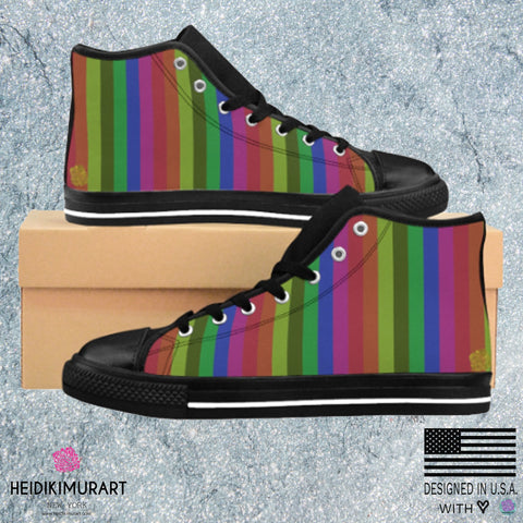 Rainbow Stripe Gay Pride Men's Nylon Canvas High-top Sneakers Shoes(US Size:6-14)Rainbow Shoes,Rainbow Sneakers,Rainbow Flag,Rainbow Striped Rainbow Print Stripe Gay Pride Men's Nylon Canvas High-top Sneakers Shoes (US Size: 6-14)