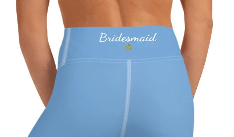 Bridesmaid Graphic Text Printed Premium Quality Light Baby Blue Women's Yoga Capri Leggings Pants, Bridesmaid Gift, Made in USA (US Size: XS-XL)