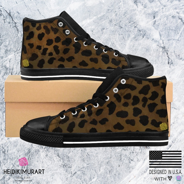 Brown Leopard Animal Print Premium Lightweight Women's High-top Fashion Sneakers-Women's High Top Sneakers-Heidi Kimura Art LLC Brown Cheetah Women's Sneakers, Dark Brown Leopard Animal Print Premium Lightweight Women's High-top Fashion Canvas Sneakers (US Size: 6-12)