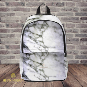 Modern White Marble Print Designer Unisex Fabric Travel School Backpack-Backpack-One Size-Heidi Kimura Art LLC