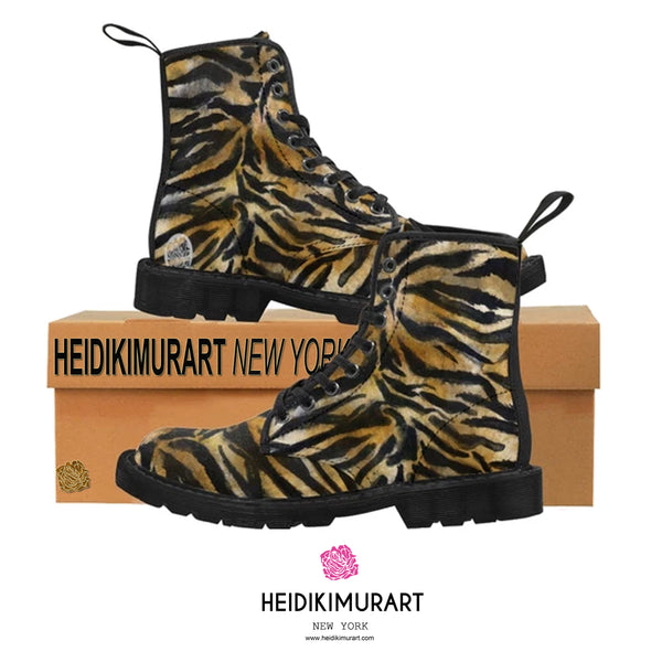 Fierce Wild Tiger Striped Animal Print Designer Men's Lace-Up Winter Boots Men's Shoes (US Size: 7-10.5)-Men's Boots-Heidi Kimura Art LLC Brown Tiger Striped Men's Boots, Fierce Wild Tiger Striped Animal Print Designer Men's Lace-Up Winter Boots Men's Shoes (US Size: 7-10.5)