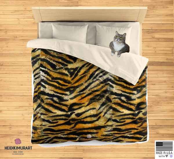 Orange Tiger Stripe Duvet Cover, Brown Animal Print Microfiber Bedding Cover-Made in USA-Duvet Cover-Heidi Kimura Art LLC