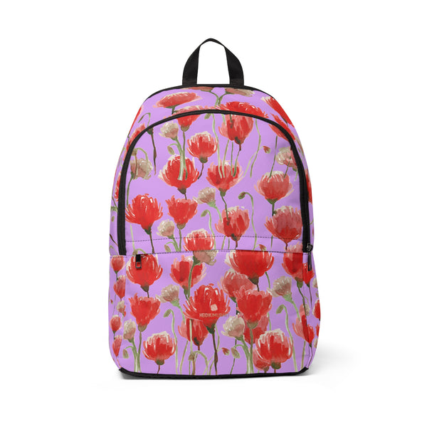 Ai Purple & Red Poppy Flower Floral Print Designer Unisex Fabric Backpack School Bag With Laptop Slot