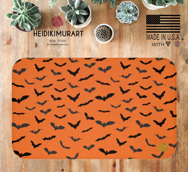 Orange Black Flying Bats Designer Halloween Bath Mat-Made in USA-Bath Mat-Heidi Kimura Art LLC