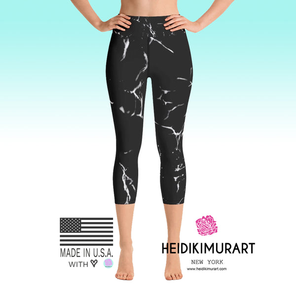 Black Marble Print Capri Leggings, Women's Yoga Capri Leggings Tights- Made in USA/EU-Capri Yoga Pants-Heidi Kimura Art LLC