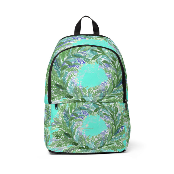 Erico Bright Blue Purple Lavender Floral Print Designer Unisex Fabric Backpack School Bag With Laptop Slot