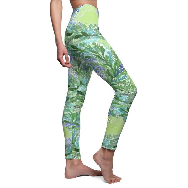 Pastel Green French Lavender Women's Casual Leggings, Made in USA, Size: XS-2XL-Casual Leggings-Heidi Kimura Art LLC