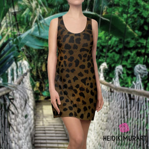 Brown Leopard Dress, Brown Leopard Animal Print Women's Designer Regular Fit Racerback Tank Crew Neck Dress, Made in USA (US Size: XS-2XL), Plus Size Available