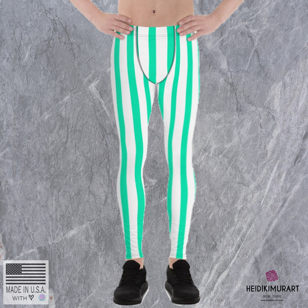Turquoise Blue Striped Meggings, Turquoise Blue Stripes Men's Running Circus Leggings & Run Tights Meggings Activewear- Made in USA/ Europe (US Size: XS-3XL)