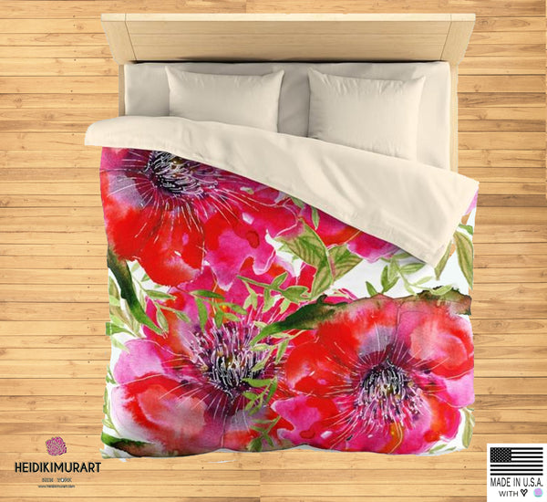 Hot Red Hibiscus Flower Floral Print Soft Polyester Microfiber Duvet Cover - Made in USA-Duvet Cover-Heidi Kimura Art LLC