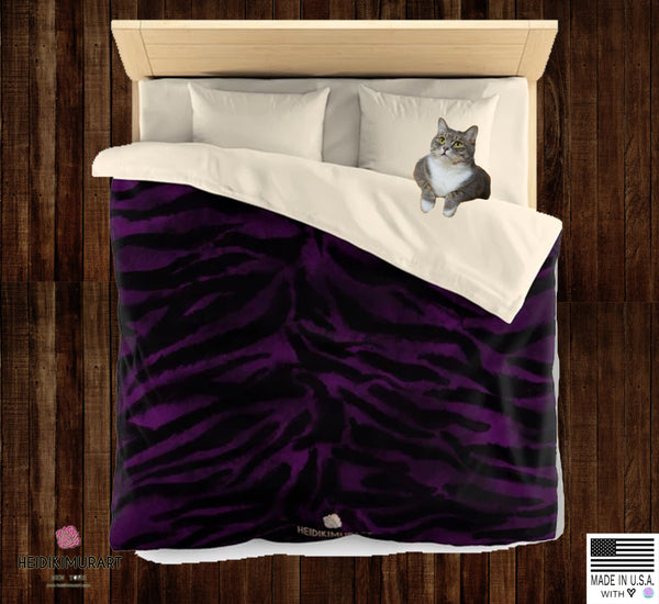 Purple Tiger Stripe Duvet Cover, Animal Print Queen/Twin Microfiber Cover-Printed in USA-Duvet Cover-Heidi Kimura Art LLC