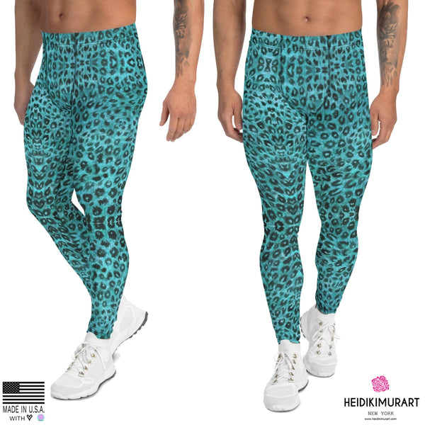 Light Blue Leopard Meggings, Leopard Print Men's Leggings, Animal Print Leopard Modern Meggings, Men's Leggings Tights Pants - Made in USA/EU (US Size: XS-3XL) Sexy Meggings Men's Workout Gym Tights Leggings