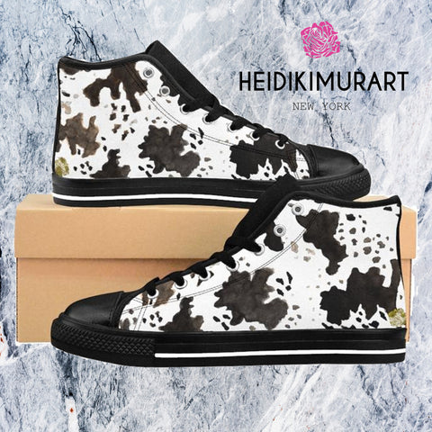 "Milk Cow Print White Brown Black 5"" Calf Height Women's High-Top Sneakers Running Shoes, (US Size: 6-12)-Women's High Top Sneakers-Heidi Kimura Art LLC"