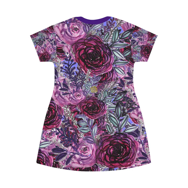 Miko Purple Pink Rose Floral Print Women's Long T-Shirt Dress- Made in USA (US Size:XS-2XL)