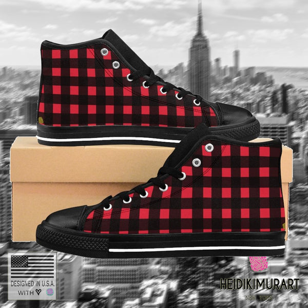 Buffalo Red Plaid Print Men's High-top Sneakers Running Shoes (US Size: 6-14)-Men's High Top Sneakers-Heidi Kimura Art LLC v