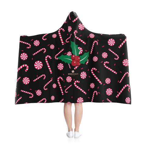 "Black Christmas Themed Party Sugar Cane 50""x40"", 80""x56"" Party Hooded Blanket-Hooded Blanket-Heidi Kimura Art LLC Christmas Hooded Blankets,"