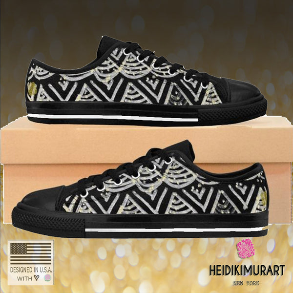 Black Chevron Pattern Mermaid King Men's Low Top Nylon Canvas Tennis Sneakers Shoes-Men's Low Top Sneakers-Heidi Kimura Art LLC Black Chevron Men's Low Tops, Premium Men's Nylon Canvas Tennis Fashion Sneakers Shoes (US Size: 7-14)
