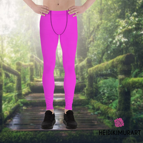 Neon Pink Meggings, Bright Cute Neon Pink Solid Color Printed Men's Running Leggings & Run Tights- Made in USA/ Europe (US Size: XS-3XL)