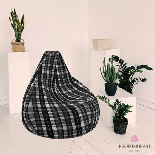 "Black White Plaid Bean Bag, Black White Plaid Tartan Print Water Resistant Polyester Bean Sofa Bag W: 58""x H: 41"" Chair With Filling Or Bean Bag Cover Without Filling- Made in Europe"