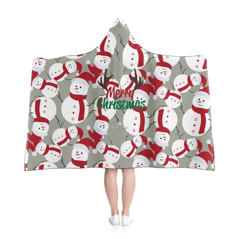 Gray Lightweight Christmas Red Snowman Designer Holiday Party Hooded Blanket-Hooded Blanket-Heidi Kimura Art LLC
