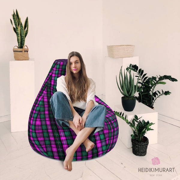"Pink Plaid Bean Bag Chair, Classic Pink Green Plaid Tartan Print Water Resistant Polyester Bean Sofa Bag W: 58""x H: 41"" With Filling Or Bean Bag Cover- Made in Europe"