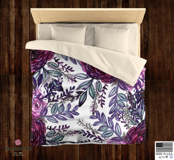 Purple Pink Floral Rose Comfy 100% Polyester Microfiber Duvet Cover- Made in USA-Duvet Cover-Heidi Kimura Art LLC