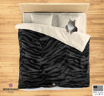 Black Gray Bengal Tiger Stripe Print Queen/Twin Size Microfiber Duvet Cover - Heidi Kimura Art LLC