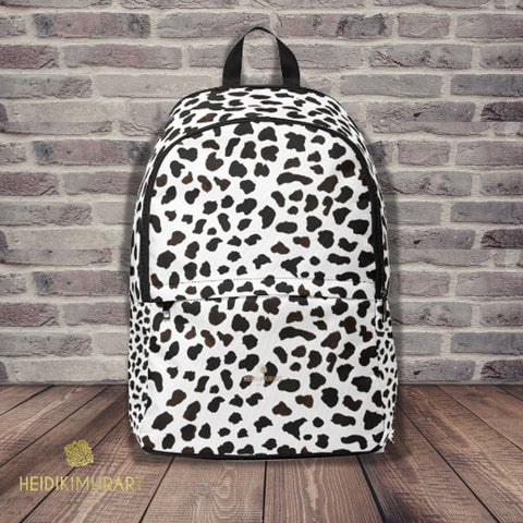 White Moo Cow Animal Print Designer Unisex Fabric Backpack School Bag-Backpack-One Size-Heidi Kimura Art LLC White Cow Print Backpack, White Moo Cow Animal Print Designer Unisex Fabric Lightweight Water-Resistant Backpack School Bag With Laptop Slot, Cow Print Backpack, Cow Backpack With Adjustable Straps