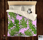 Pink Green Tropical Leaf Print Designer Microfiber Duvet Cover-Made in USA(Twin/ Queen) - Heidi Kimura Art LLC