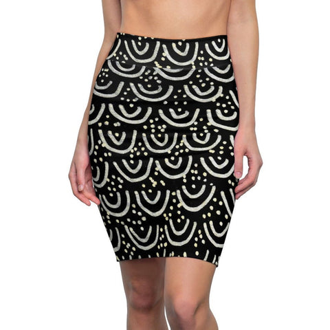 Nippon Japanese Black Mermaid Print Women's Pencil Skirt-Made in USA(Size: XS-2XL)Office Skirt,Mermaid Skirt,Pencil Skirt,Black Pencil Skirt