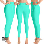 Women's Turquoise Blue Bright Solid Color Yoga Gym Workout Tights, Long Yoga Pants Leggings Pants,Plus Size, Soft Tights - Made in USA, Women's Turquoise Blue Solid Color Active Wear Fitted Leggings Sports Long Yoga & Barre Pants (XS-XL)