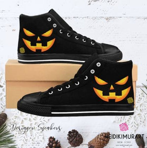 Men's Halloween Orange Creepy Pumpkin Face Men's High-Top Sneakers Tennis Shoes (US Size: 6-14)