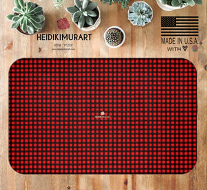 "Buffalo Red Plaid Print Premium 34""x21"", 24""x17"" Microfiber Bath Mat -Made in USA"