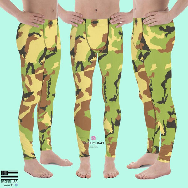 Green Camo Camouflage Military Army Abstract Print Sexy Meggings-Made in USA/ EU-Men's Leggings-XS-Heidi Kimura Art LLC Green Camo Meggings, Green Camo Camouflage Military Army Abstract Print Sexy Meggings Men's Workout Gym Tights Leggings, Compression Tight Pants - Made in USA/ EU (US Size: XS-3XL)