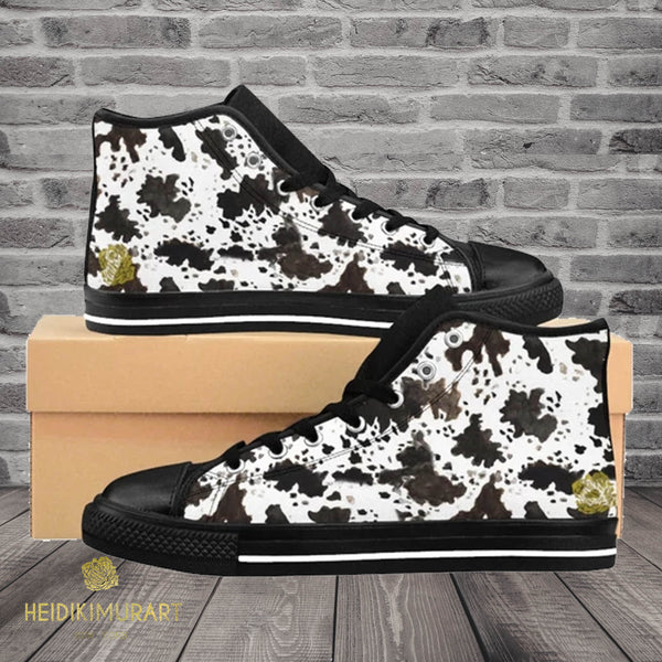 "Farm Cow Print Black White Brown High Performance Women's High-Top Sneakers Shoes, (US Size: 6-12)-Women's High Top Sneakers-Heidi Kimura Art LLC Cow Print Women's Sneakers, Cow Print Black White Brown High Performance Durable 5"" Calf Height Women's High-Top Sneakers Shoes, (US Size: 6-12)"