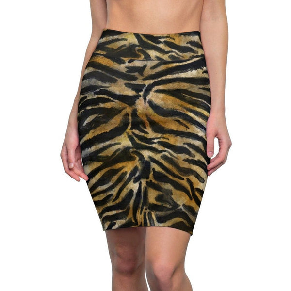 Tiger Striped Print Women's Pencil Skirt, Animal Print Women's Skirt - Made in USA (Size XS-2XL)-Pencil Skirt-L-Heidi Kimura Art LLC Tiger Striped Women's Pencil Skirt, Stretchy Premium Quality Alluring Snow Tiger Animal Print Designer Women's Pencil Skirt - Made in USA (US Size: XS-2XL)
